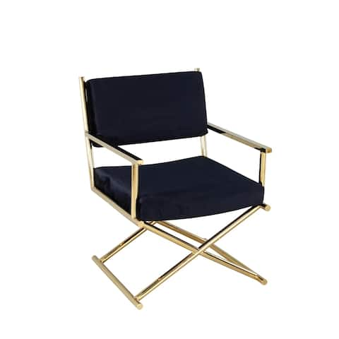Metal Director'S Chair, Black/Gold