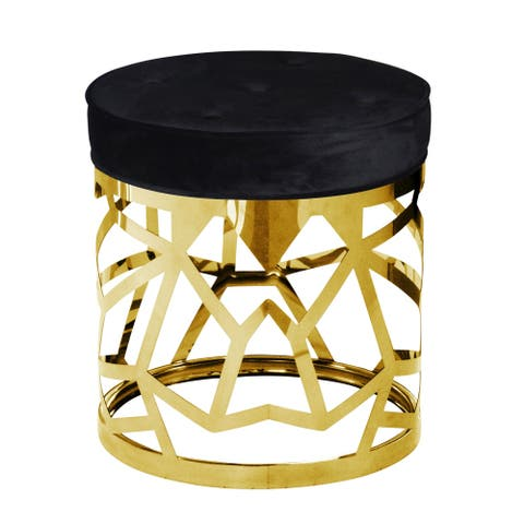 Stainless Steel Abstract Ottoman, Gold/Black