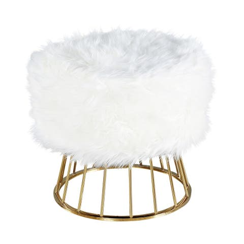 Faux Fur Ottoman With Basketlegs, White/Gold