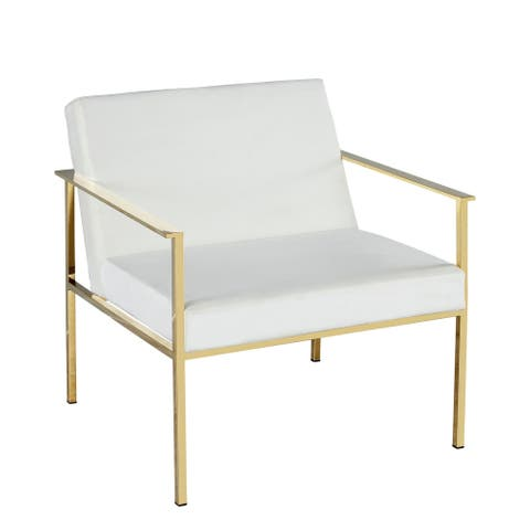 Metal / Velveteen Arm Chair, White/Gold