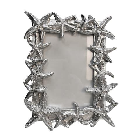 "Polyresin 4X6"" Starfish Photo Frame, Silver"