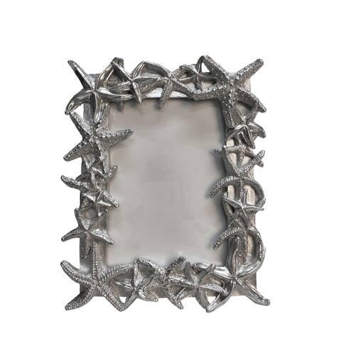 "Polyresin 5X7"" Starfish Photo Frame, Silver"