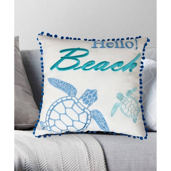 Hello Beach Embroidered Decorative Pillow 18x18. Opens flyout.