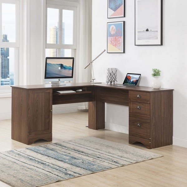 Shop Merax L-Shaped Desk With 3 Drawers And Shelves