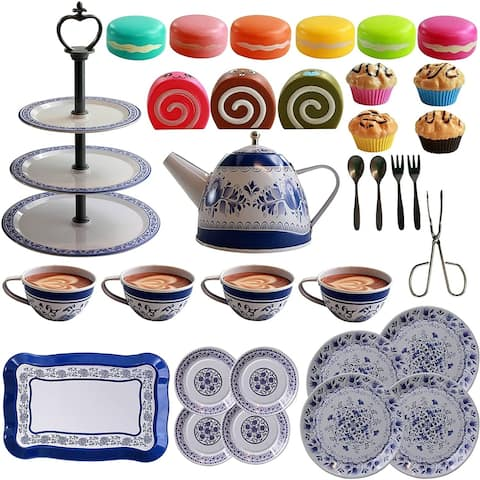 IQ Toys 39 Piece Tea and Cake Set for Pretend Tea Parties