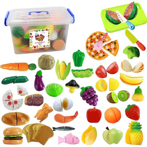IQ Toys 40 Piece Pretend Cutting Food Playset for Kids Kitchen Toys