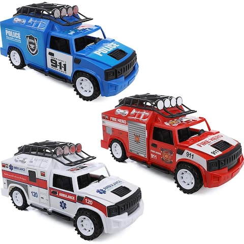 IQ Toys Set of 3 Emergency Rescue Vehicles Ambulance Fire Police Truck