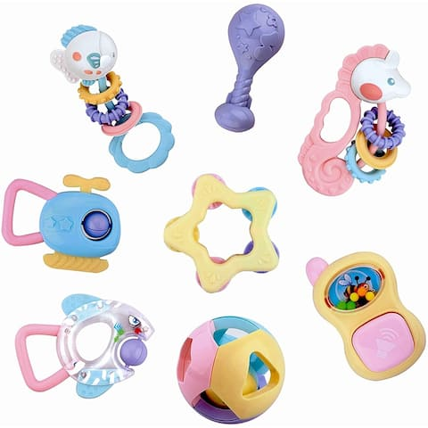IQ Toys Baby Rattles Teething Toy, 8 Piece Grasping Toy Set