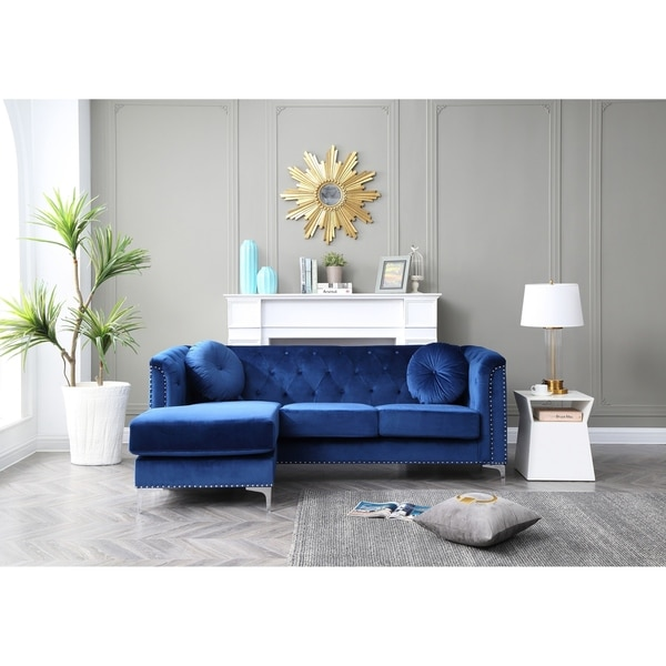 Pompano Velvet Button Tufted Sofa with Chaise. Opens flyout.