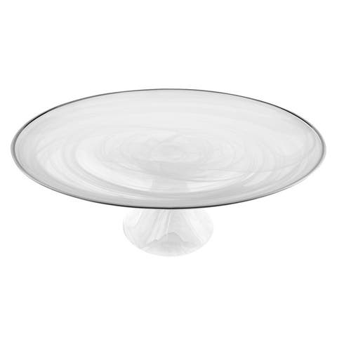"White Alabaster 13"" Footed Glass Cakestand With Silver Rim"