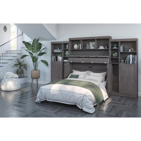 Bestar Pur Cabinet Bed with Hutch and Two Storage Units