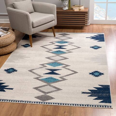 Rug Branch Savannah Modern Geometric Area Rug and Runner, Cream Blue