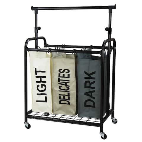 Oceanstar 3-Bag Rolling Laundry Sorter with Adjustable Hanging Bar, Color