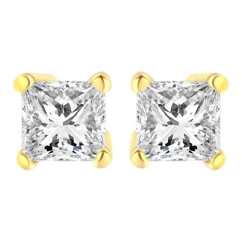 AGS Certified 14K Yellow Gold 3/8ct TDW Diamond Stud Earring (M-N, I1)