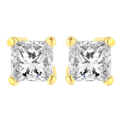 AGS Certified 14K Yellow Gold 3/8ct TDW Diamond Stud Earring (K-L, I1-I2)