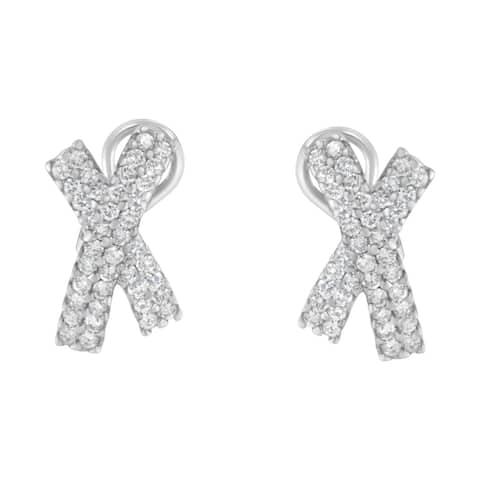 """14K White Gold 2ct. TDW Diamond """"X"""" Earrings (H-I, I1-I2)"""