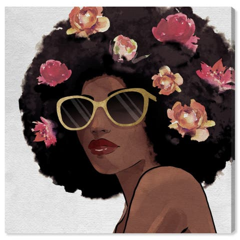 Wynwood Studio 'Flowers to Inspire Shades' Fashion and Glam Wall Art Canvas Print - Black, Pink