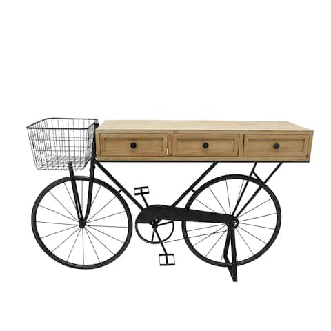 """Iron/Wood 34"""" Bicycle Console W/ Drawers, Brown"""