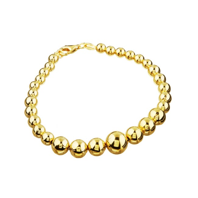 Sterling Essentials 14K Gold over Sterling Silver 7 inch Graduated Bead Brace