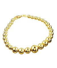 14K Gold over Sterling Silver 7-inch Graduated Bead Bracelet