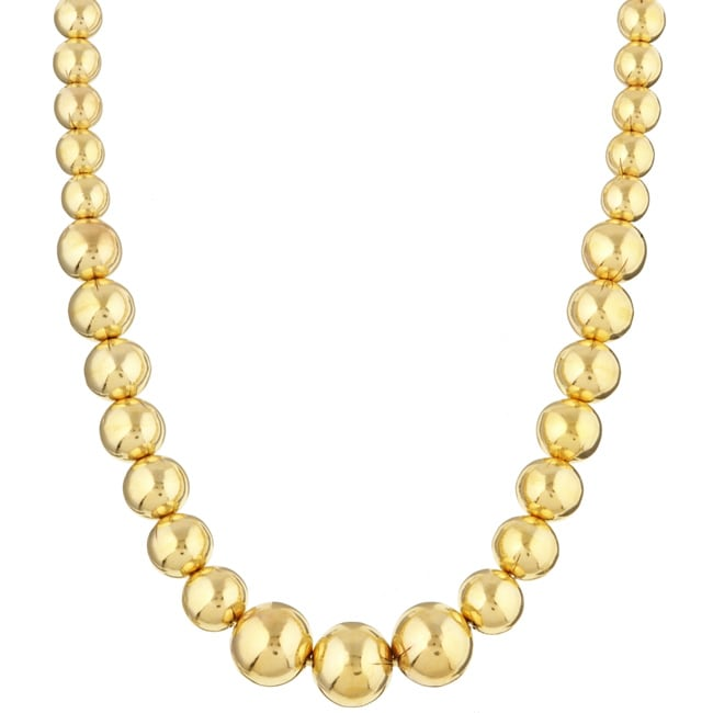 14K Gold over Sterling Silver 18-inch Graduated Bead Necklace