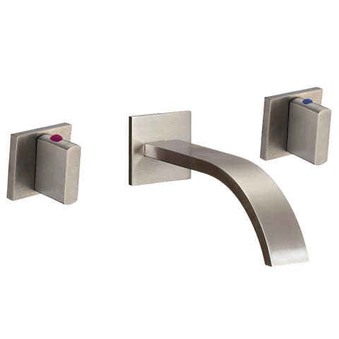 Novatto DEKKER Two Handle Wall Mount Bathroom Faucet in Brushed Nickel