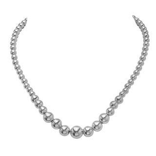 Sterling Silver Graduated Bead Necklace ( 17+1 Inch)