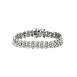 Icz Stonez Sterling Silver CZ Leaf Design Bracelet