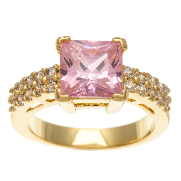 Simon Frank 3.41 Equivalent Diamond Weight 14k Yellow Gold Overlay Pink CZ Emerald-cut Ring