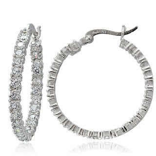 Icz Stonez Sterling Silver 25 mm Inside and Out CZ Hoop Earrings