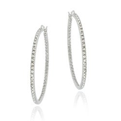 Icz Stonez Sterling Silver Inside and Out CZ Hoop Earrings