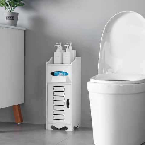 Waterproof Single Door Bathroom Cabinet White