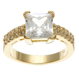 Simon Frank 3.41 Equivalent Diamond Weight 14k Yellow Gold Overlay White Emerald-cut Ring