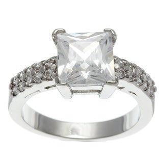 Simon Frank 3.41 Equivalent Diamond Weight 14k White Gold Overlay White Emerald-cut Ring