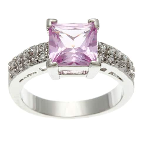 3.41ct. Pink Princess-cut Cubic Zirconia Engagement Ring by Simon Frank Designs