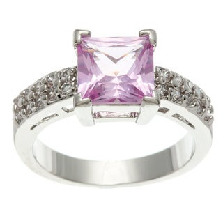 Simon Frank 3.41 Equivalent Diamond Weight 14K WG Overlay Pink Princess-cut CZ Center Stone Ring