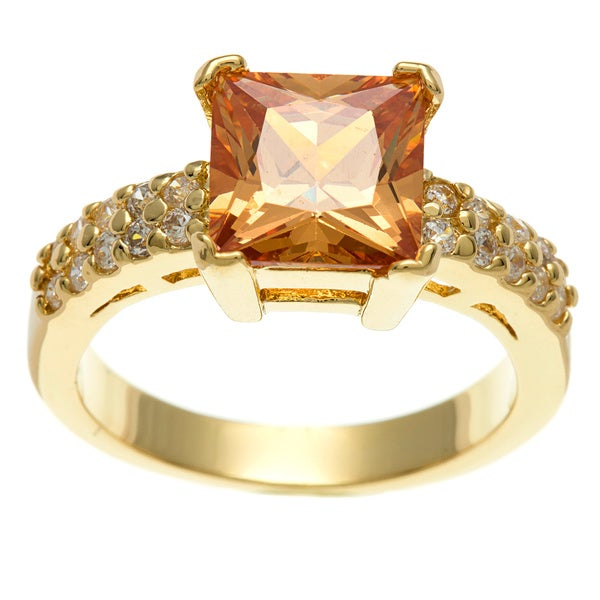 Simon Frank 3.41 Equivalent Diamond Weight 14k Yellow Gold Overlay Champagne Emerald-cut Ring
