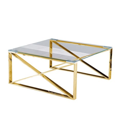 "Metal 34"" ""X"" Frame Coffee Table, Gold"