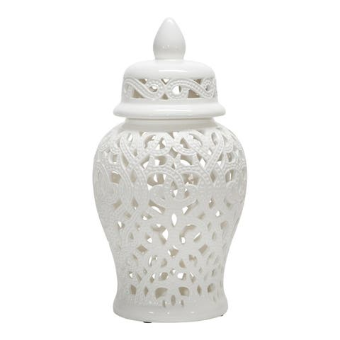 "Ceramic 18"" Cut-Out Temple Jar, White"