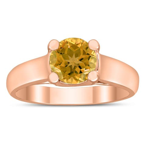 Round 7MM Citrine Cathedral Solitaire Ring in 10K Rose Gold