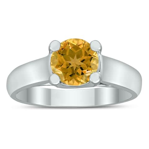 Round 7MM Citrine Cathedral Solitaire Ring in 10K White Gold