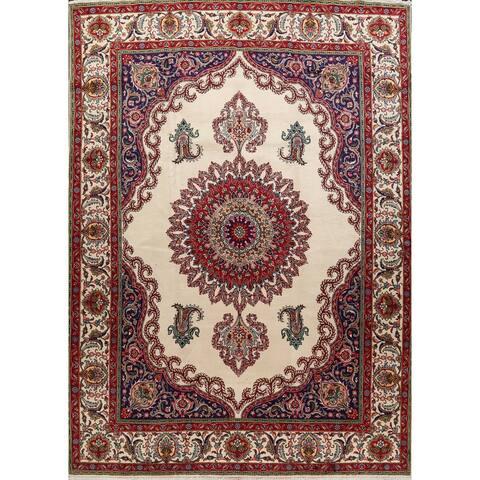 "Ivory Floral Tabriz Persian Area Rug Handmade Living Room Carpet - 9'9"" x 12'6"""