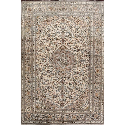 """Traditional Floral Kashan Persian Living Room Area Rug Hand-Knotted - 9'8"""" x 13'5"""""""
