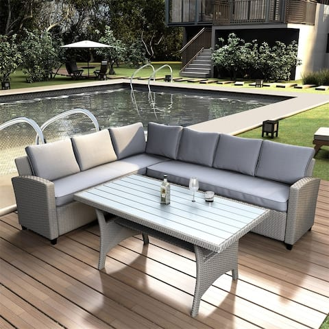 Merax Patio Outdoor Furniture Sectional PE Rattan Wicker Patio Set with Faux Wood Grain Top Table and Cushions