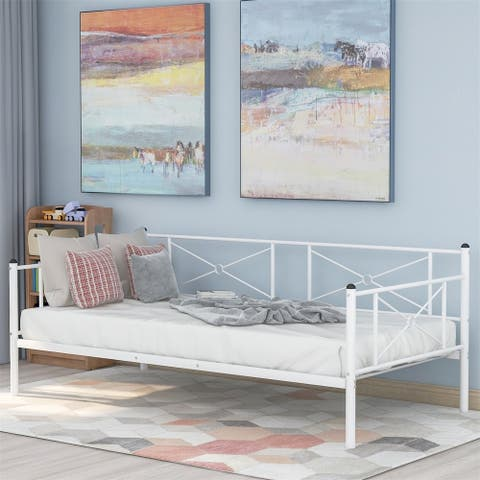 Merax Metal Twin Daybed Frame with Steel Slats