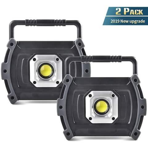 Illushine LED Work Light, 10W 1500 Lumen Rechargeable Work Lights(2 Pack) - black