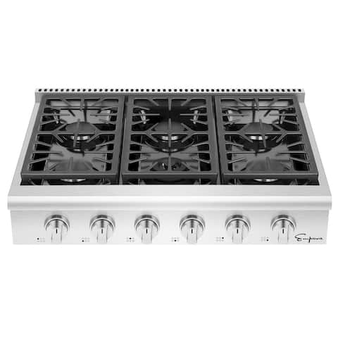 36 in. Pro-Style Slide-in Natural Gas Rangetop with 6 Deep Recessed Sealed Burners - Indicator Light- in Stainless Steel