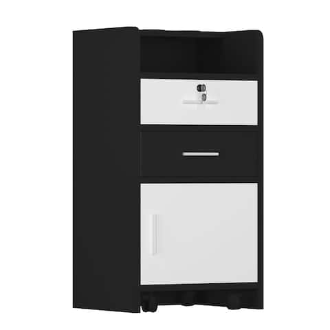 Salon Wood Cabinet Trolley 3-layer Cabinet Equipment with A Lock