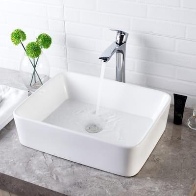 16x12 inch Rectangle White Ceramic Bathroom Vessel Sink