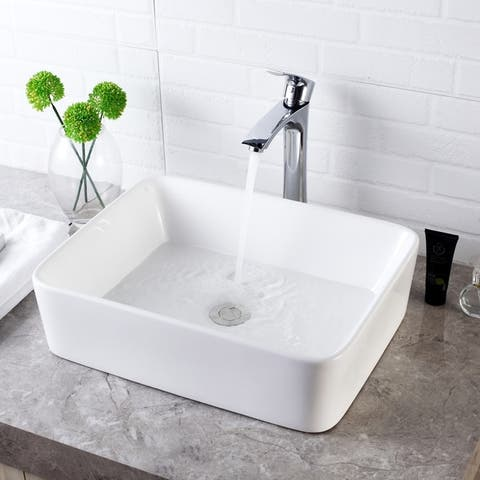 16x12 inch Rectangle White Ceramic Bathroom Vessel Sink